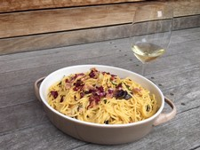 Speck and Radicchio Spaghetti Carbonara