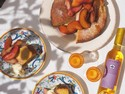 Polenta and Ricotta Cake with Red Wine Peaches